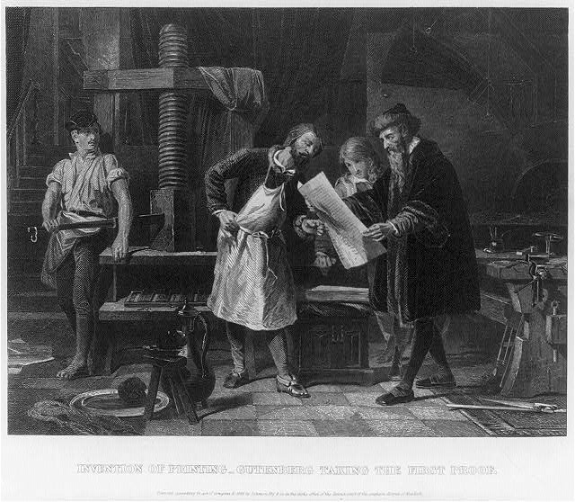 Johnson Fry Co Invention Of Printing Gutenberg Taking The First Proof Library Congress 1863 Memorylocgov Accessed March 30 2011